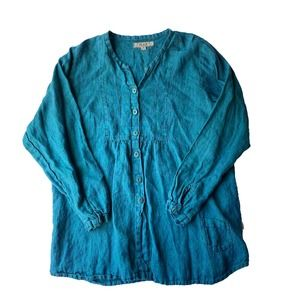Flax Blue 100% Linen Long Sleeve Size Small Top